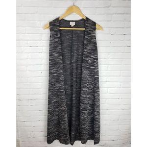 LuLaRoe Joy Vest Cardigan Black White Gray Size XS